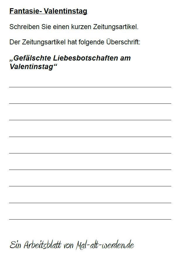 """Arbeitsblatt- """"Fantasie"""" zum Thema Valentinstag"""