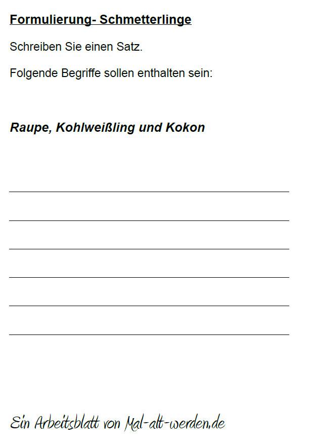 """Arbeitsblatt- """"Formulierung"""" zum Thema Schmetterlinge"""