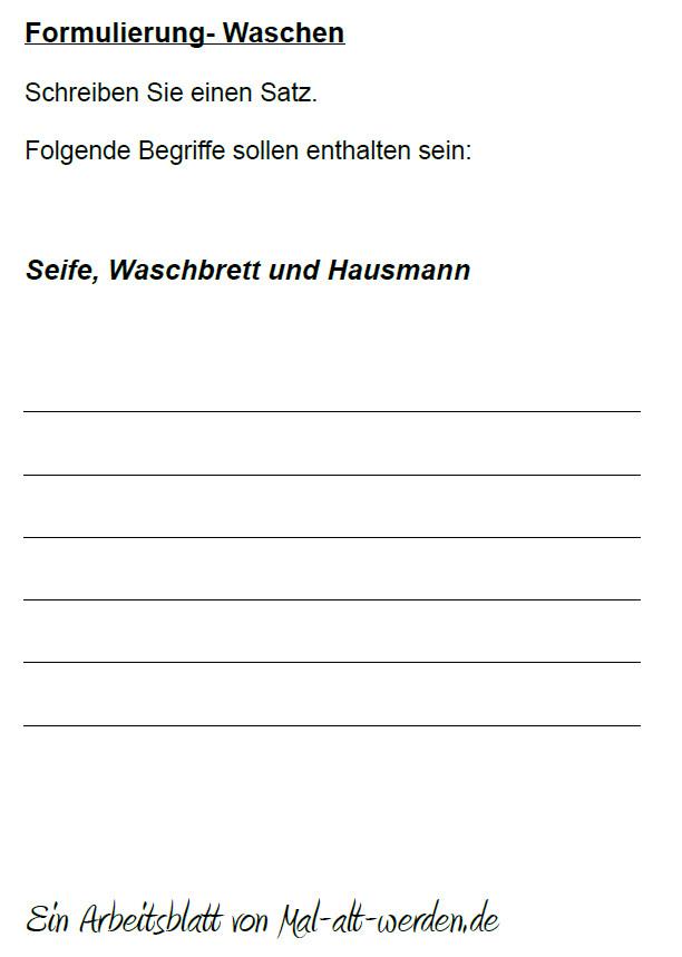 """Arbeitsblatt- """"Formulierung"""" zum Thema Waschen"""