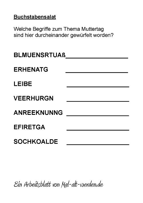 Buchstabensalat- Muttertag