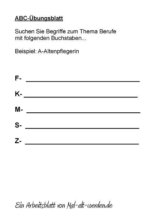 ABC- Übungsblatt Berufe