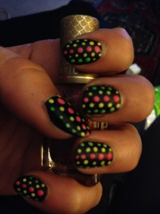 Neon Dotted Nails