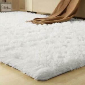 Smooth Fur Rug Fluffy Carpet white