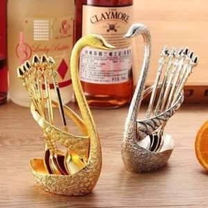 High quality Duck spoon holder + 6pcs Teaspoon