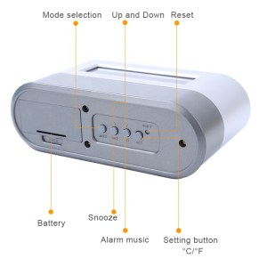 Digital Oval Desk Pen Holder Alarm Clock