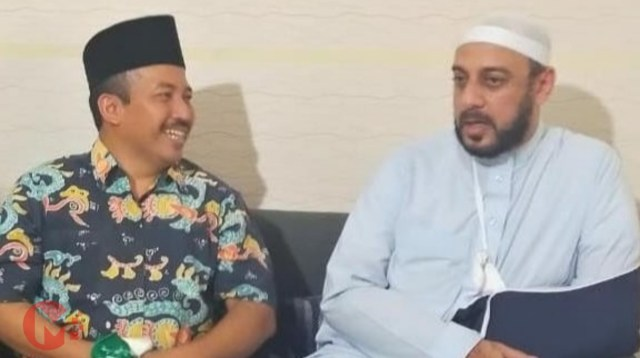 Foto : Ketua PCNU Kab Malang, dr umar usman bersama Syekh Ali Jabir