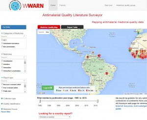 The WWARN Antimalarial Quality Surveyor is an online tool that maps and tabulates published reports about the quality of antimalarial medicines. It was the first open access, independent, global repository and map of its kind, and was designed to help fill some of the information gaps relating to poor quality antimalarials.