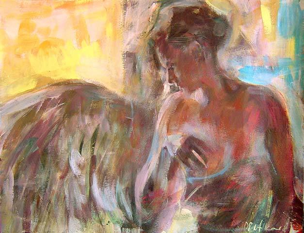 Anioł 112a, akryl, gwasz na kartonie