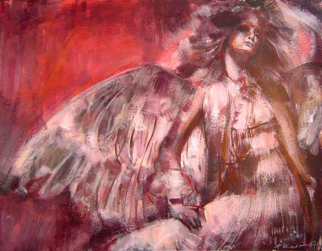 Anioł 93a, technika mieszana, karton