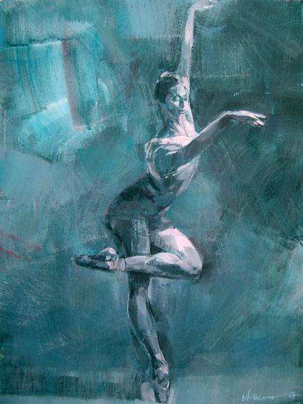 Błękitny balet 52a, gwasz na kartonie
