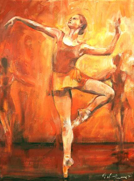 Tancerka 142a, technika mieszana na płótnie