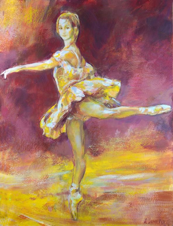 Baletnica w żółcieniach 280416, technika mieszana na kartonie 30x40cm 300g/m²