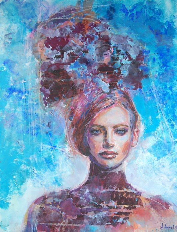 Niebieska dziewczyna 210216, technika mieszana na kartonie 30x40cm 300g/m²