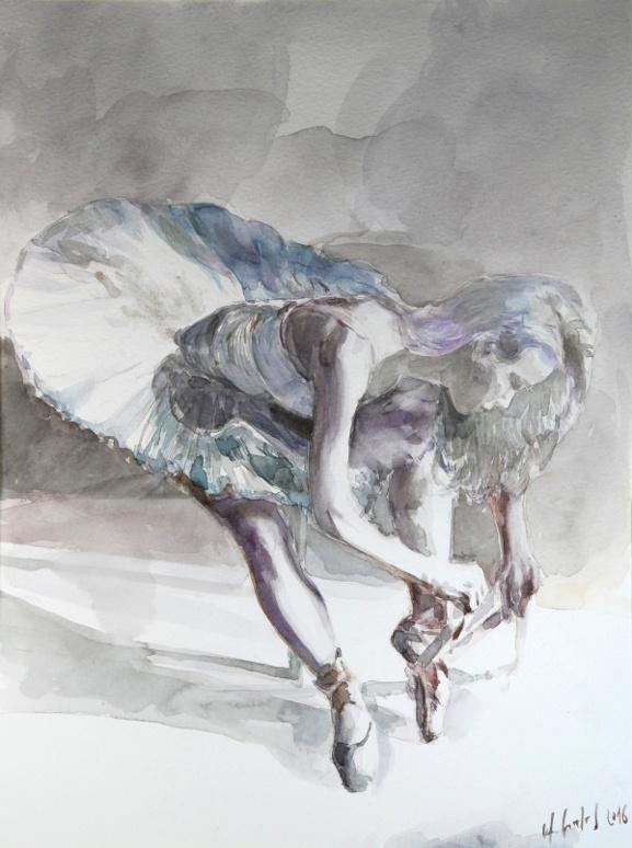 Siedząca baletnica 030216, akwarela na kartonie 30x40cm 300g/m²