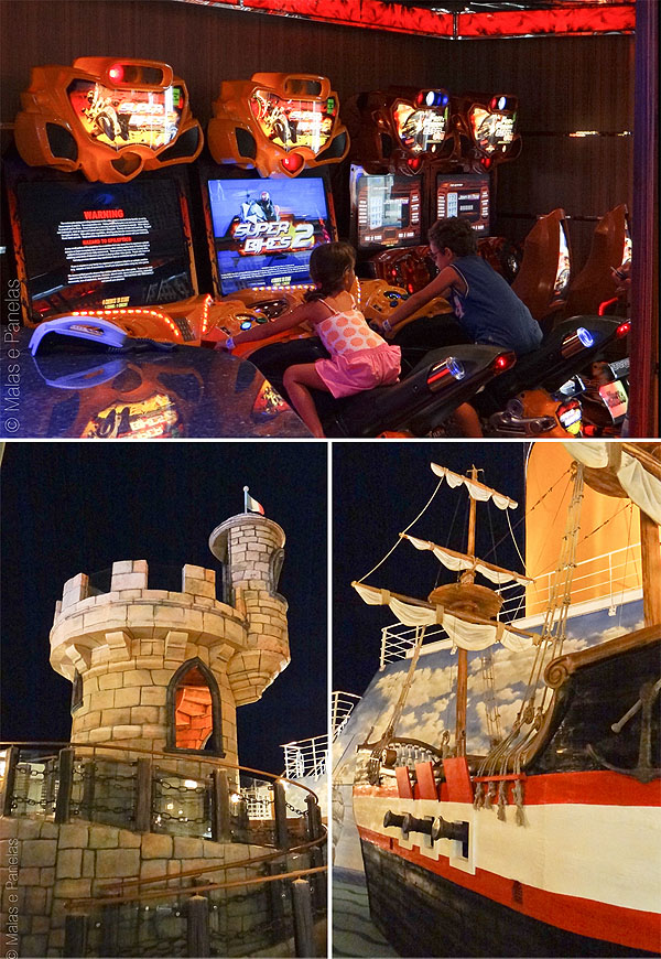 Costa Favolosa Jogos eletrônicos, castelo e navio pirata