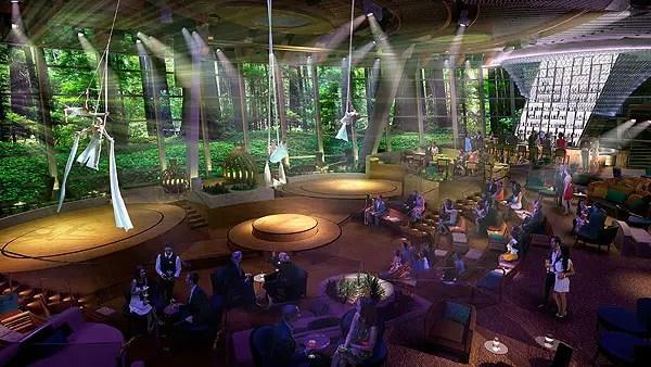 O Two70º mescla entretenimento e tecnologia. Durante o dia é uma uma sala de estar confortável e moderna para sentar e relaxar, enquanto os hóspedes apreciam o mar. Quando o sol se põe e as luzes diminuem, e o espaço se transforma gradualmente, oferecendo shows e eventos multidimensionais, que levas a plateia a interagir com uma combinação de artistas, como trapezistas de alta performance, combinados com vídeos e cenários digitais projetados nas paredes.