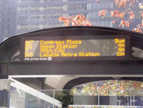 Tabela de horário de onibus em Chicago