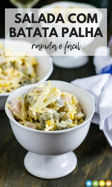Salada com Batata Palha - rápida e fácil | Malas e Panelas