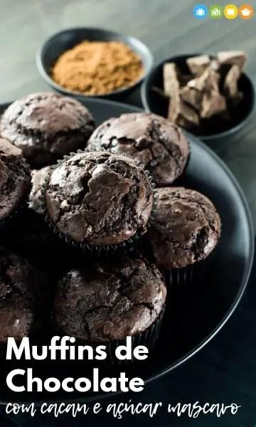 Muffins de chocolate com cacau e açúcar mascavo | Malas e Panelas