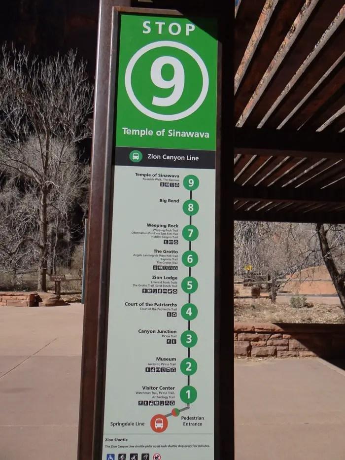 Paradas de ônibus no Zion National Park