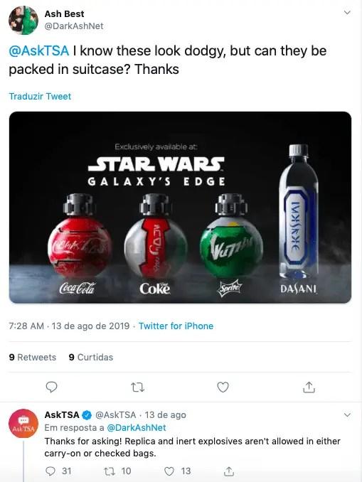 Garrafas da Coca-Cola vendidas no Star Wars Galaxy's Edge