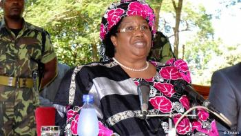 Joyce Banda was surrounded by patrons.