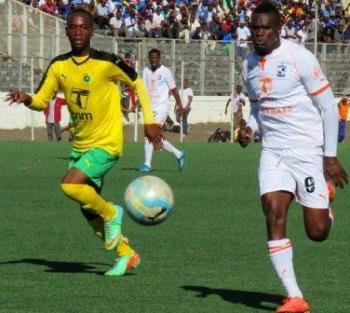 Nomads' Peter Wadabwa racing for the ball with a Civo player in a previous encounter.
