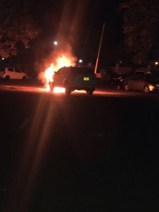 Jessie Kabwila vehicle up in flames (1)