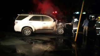 Jessie Kabwila vehicle up in flames (8)