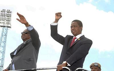 Edgar Lungu with Peter Mutharika