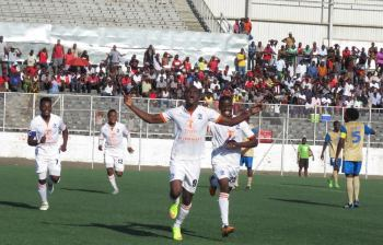 Peter Wadabwa celebrating one of his goals of the day.