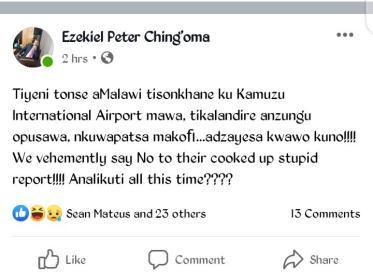 Malawi Opposition Member of Parliament Ezekiel Ching'onga
