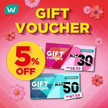 Baucar hadiah Watsons pada harga RM30 atau RM50 dengan DISKAUN 5% eksklusif