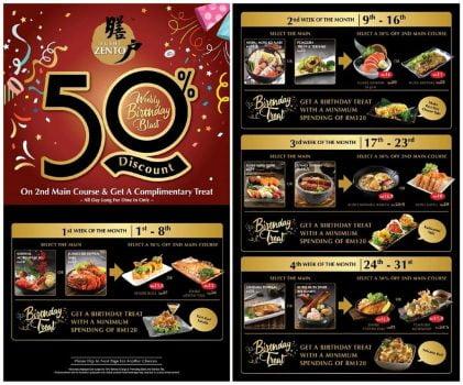 Sushi Zento Birthday 50% Tawaran Makanan Terpilih