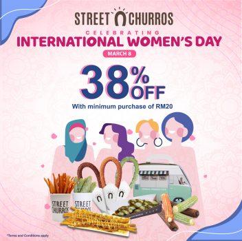 Potongan harga 38% untuk semua item Street Churros untuk Promosi Hari Wanita Antarabangsa
