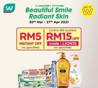 Kod Promosi Diskaun RM15 Tambahan Watson pada April
