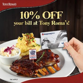 Diskaun 10% dari bil anda di semua kedai Tony Roma