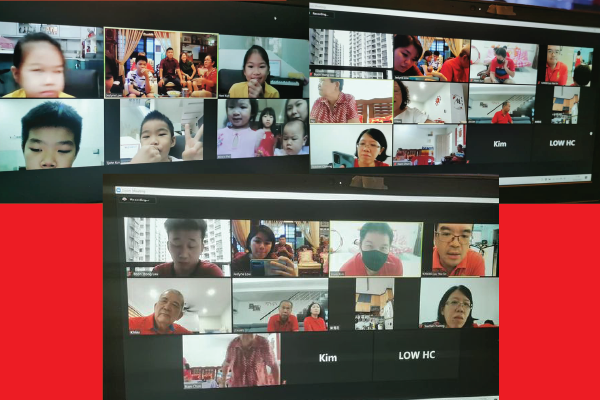 The Low family having a virtual 'bai nian' on the first day of the Chinese New Year.  PIX: Courtesy of Low P.Y.