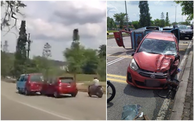 reckless driving Myvi accident Puchong
