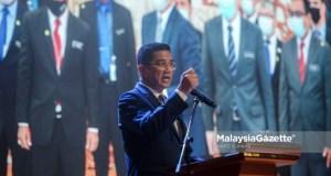 Bersatu Terengganu UMNO GE15 Minister of International Trade and Industry, Datuk Seri Mohamed Azmin Ali speaks during the MITI and Agencies Assembly at Menara MITI, Kuala Lumpur. PIX: HAFIZ SOHAIMI / MalaysiaGazette / 10 MARCH 2021