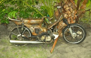 The torched motorcycle of an employee from a chicken processing factory.