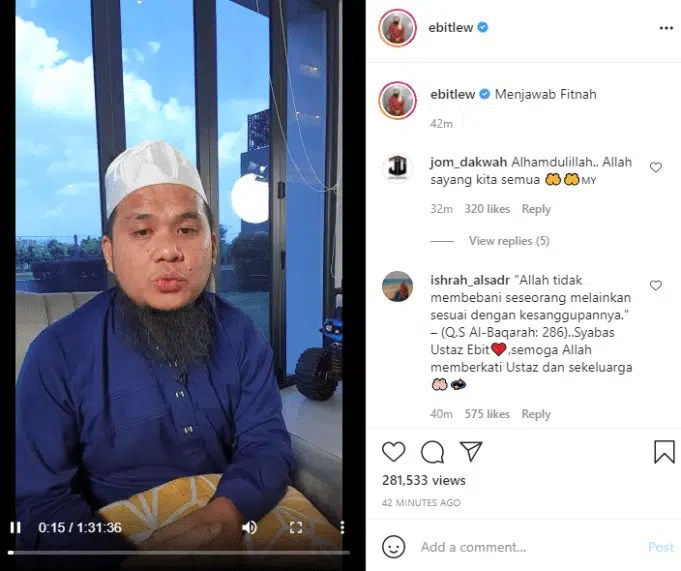 Independent Islamic preacher, Ustaz Ebit Lew questioned the whereabouts of RM20 million contributed by Malaysians to the people in Gaza through Persatuan Cinta Gaza Malaysia Muhammad Nadir Al-Nuri Kamaruzaman who is better known as Nadir Al Nuri