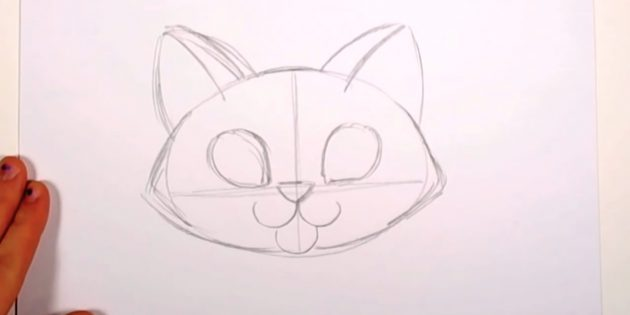 Sobre o nariz, desenhe as gotículas - os contornos dos olhos - e pegue as orelhas de gato