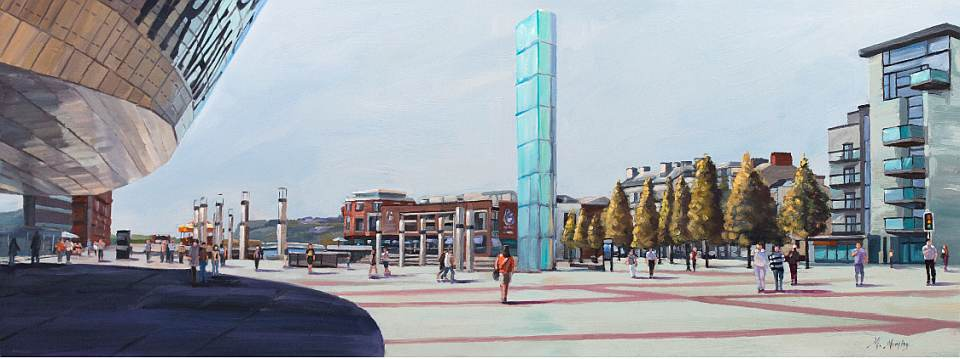 Oval Basin, Cardiff Bay Oil Painting