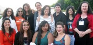 The MALCSistas from UC Santa Cruz: from back left, Chela Sandoval, Josie Mendez-Negrete, Aida Hurtado, Maylei Blackwell, three unknown women (sorry!), and Gabriella Gutierrez y Muhs. Front women unidentified as well (sorry!)