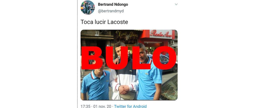 Tuit de un dirigente de Vox en el que difunde el bulo de que los chicos con polos de Lacoste robaron las prendas en Logroño
