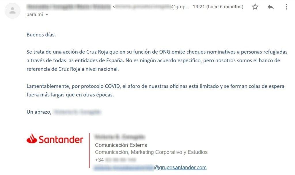 Captura de la respuesta del Banco Santander a través de correo electrónico.
