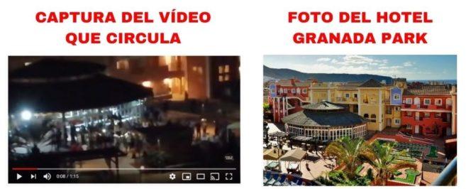 Comparación de un fragmento del vídeo y una foto del interior del Hotel Granada Park.