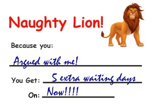 Naughty lion coupon sets my punishment.