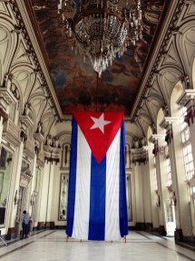 Giant Cuban flag inside the capitol complex.